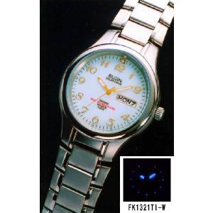 エルジン ELGIN 腕時計 FK121TI-W ダイヤ使用 チタンソーラー ホワイト文字盤 iget