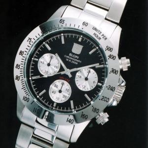 送料無料 エルジン 腕時計 ELGIN FK1259S-B  クロノグラフ ブラック文字盤 200M防水 iget