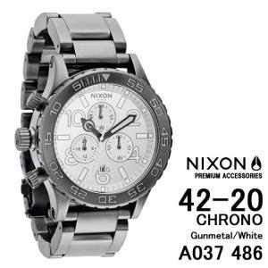 ニクソン 時計 nixon 時計 NIXON 腕時計 A037486 A037-486 Chrono THE 42-20 Gunmetal/White ガンメタル ホワイト アナログ文字盤 iget