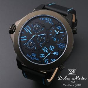 ドルチェ メディオ 腕時計 Dolce Medio 時計 DM11203 IPBKBL ブルー  トリプルタイム お取り寄せ|iget