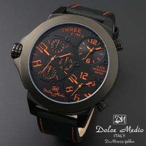 ドルチェ メディオ 腕時計 Dolce Medio 時計 DM11203 IPBKOR オレンジ  トリプルタイム お取り寄せ|iget