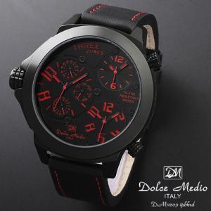 ドルチェ メディオ 腕時計 Dolce Medio 時計 DM11203 IPBKRD レッド  トリプルタイム お取り寄せ|iget