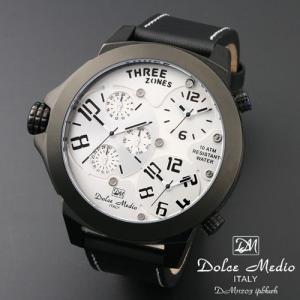 ドルチェ メディオ 腕時計 Dolce Medio 時計 DM11203 IPBKWH ホワイト  トリプルタイム お取り寄せ|iget