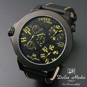 ドルチェ メディオ 腕時計 Dolce Medio 時計 DM11203 IPBKYL イエロー  トリプルタイム お取り寄せ|iget
