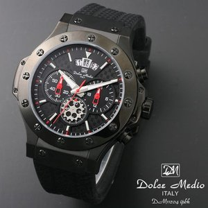 ドルチェ メディオ 腕時計 Dolce Medio 時計 DM11204 IPBK ブラック  クロノグラフ カレンダー お取り寄せ|iget