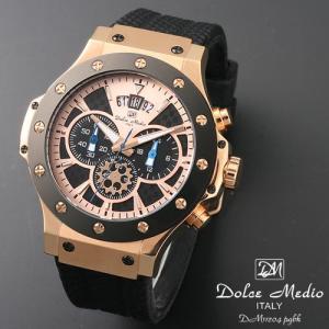 ドルチェ メディオ 腕時計 Dolce Medio 時計 DM11204 PGBK ブラック  クロノグラフ カレンダー お取り寄せ|iget