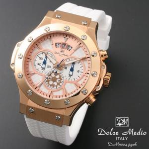 ドルチェ メディオ 腕時計 Dolce Medio 時計 DM11204 PGWH ホワイト  クロノグラフ カレンダー お取り寄せ|iget