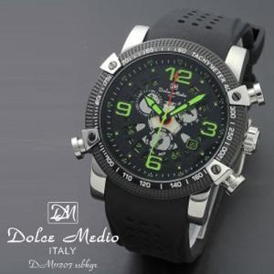 ドルチェ メディオ 腕時計 Dolce Medio 時計 DM11207 SSBKGR グリーン カレンダー お取り寄せ|iget