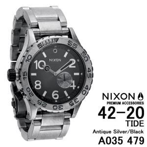 ニクソン 時計 nixon 時計 NIXON 腕時計 A035-479 A035479 THE 42-20 アンティークシルバー Antique Silver/Black アナログ文字盤 iget