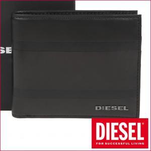 ディーゼル DIESEL 二つ折り財布 メンズ ブラックストライプ X04151 PR400 H6083
