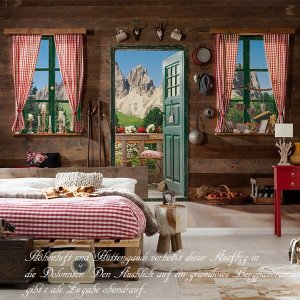 おしゃれな輸入壁紙 クロス ドロミテの見える部屋 ドイツ製/8-955 Dolomite ドロミテ 368cm×254cm 北欧 だまし絵 igogochi