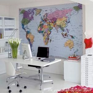 おしゃれな輸入壁紙 クロス 英語英字世界地図 ドイツ製/4-050 World Map ワールドマップ 270×188cm 北欧|igogochi