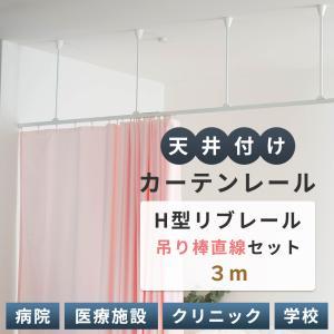 病院用 医療用 カーテンレール H型リブレール 3m 吊棒直線セット igogochi
