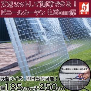 ビニールカーテン 0.35mm厚 幅195cm×丈250cm 透明 無色透明 糸入り 丈夫なPVC防炎|igogochi