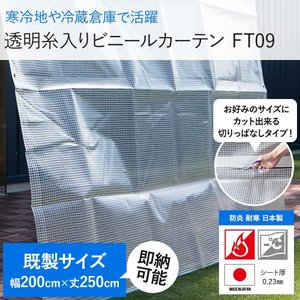 ビニールカーテン 0.23mm厚 幅200cm×丈250cm 半透明 防炎・難燃性 FT09|igogochi