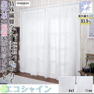 ミラーレースカーテン 帝人ウェーブロン 遮像 遮熱 断熱 UVカット RH252エコシャインドット RH253エコシャインライン/巾100×丈208 巾150×丈208|igogochi