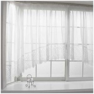 出窓 スタイルレースカーテン アーチ/ストレート/Wスカラップ オーダーサイズ/巾201cm〜300cm 丈50cm〜120cm igogochi