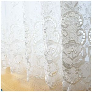 レースカーテン オーダー 裾刺繍レース付き トルコ刺繍  絢爛 TS820/巾〜200×丈〜270 1枚|igogochi