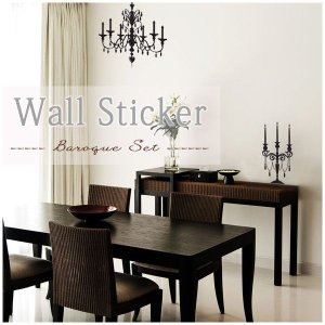 ウォールステッカー シャンデリアとキャンドルホルダー wd-003 BaroqueSet|igogochi