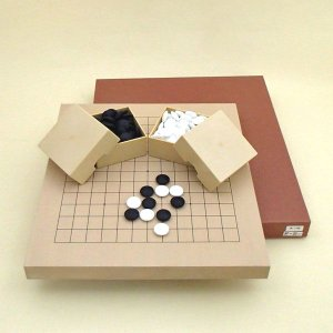 囲碁将棋セット 新桂10号13路碁・将棋両用盤と新生梅碁石とミニ角ケース|igolabo