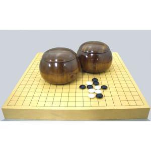 囲碁セット ヒバ卓上接合碁盤に蛤碁石と手作木製碁笥楠(くす)極上|igolabo