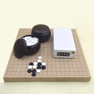 囲碁セット 新桂10号卓上接合碁盤と碁石新生松と碁笥銘木特大のセット|igolabo
