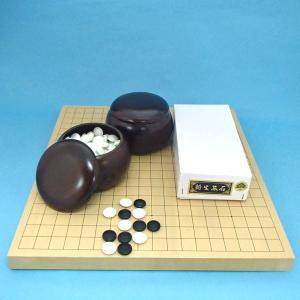 囲碁セット 新かや10号卓上接合碁盤竹と碁石新生松とP碁笥銘木特大|igolabo