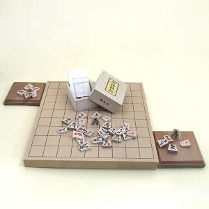 将棋セット 新桂1寸卓上接合将棋盤と将棋駒楓漆書と駒台のセット