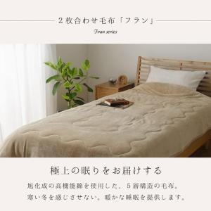 毛布 シングル 2枚合わせ毛布「フラン」 シングルサイズ(約140×200cm) あったか毛布 あたたか GL-tm 新生活|igusakotatu|02