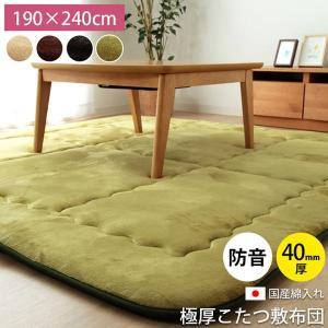 ふっくら敷き 長方形ラグ 「スムース」約190×240cm(約3.0畳) こたつ敷き布団 厚手 防音|igusakotatu