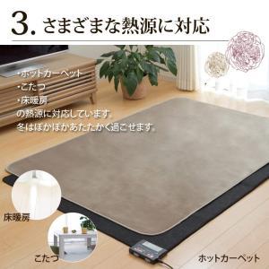 カーペット 2畳 「WSセリゼ」 約185×185cm ホットカーペットカバー 2畳用 抗菌 防臭 シンプル フランネル ラグ カーペット 正方形 床暖房対応(tm)|igusakotatu|04