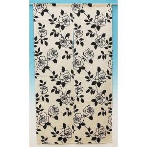のれん 暖簾 麻混モノトーンローズ 85×150cm ブラック バラ 薔薇 植物柄|igusakotatu