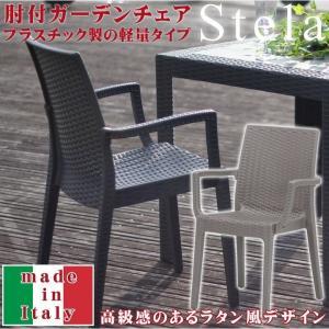 ガーデンチェア ラタン イタリア製 「ステラ(肘付き)」1脚屋外 アウトドア プラスチック シンプル イス チェア デザイン バカンス|igusakotatu