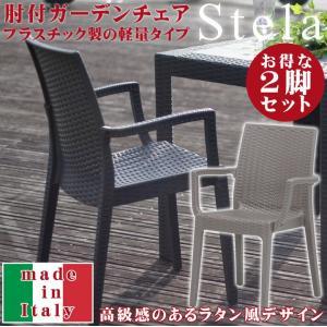 ガーデンチェア ラタン イタリア製 「ステラ(肘付き)」2脚セット 屋外 プラスチック アウトドア シンプル|igusakotatu