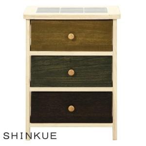 木製3段桐カラフルキッチンワゴン(野菜ストッカー) 「シンクエ」 キッチン収納 チェスト|igusakotatu