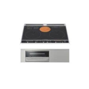 日立製(WOODONE)UDIH004-6N-VK ブラック 2口IH+ラジエントヒーター鉄・ステンレス対応 ▽IHクッキングヒーター ih-heater