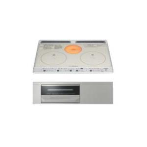 日立製(WOODONE)UDIH004-6N-VV シルバー 2口IH+ラジエントヒーター鉄・ステンレス対応 ▽IHクッキングヒーター ih-heater