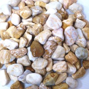 玉砂利庭砕石敷石ガーデニングイエロー黄色化粧玉石25kg