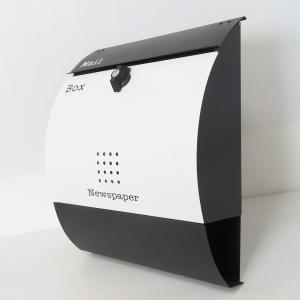 郵便ポスト郵便受けおしゃれかわいい人気北欧モダンデザイン大型メールボックス 壁掛けバイカラー白黒ポストpm037|ihome