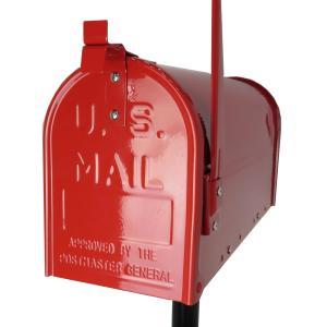 郵便ポスト郵便受けおしゃれかわいい人気アメリカンUSメールボックススタンドお洒落なレッド色ポストpm084|ihome