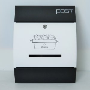 郵便ポスト郵便受けおしゃれかわいい人気北欧モダンデザイン大型メールボックス 壁掛け鍵付きマグネット付きホワイト白色猫柄ポストpm193|ihome