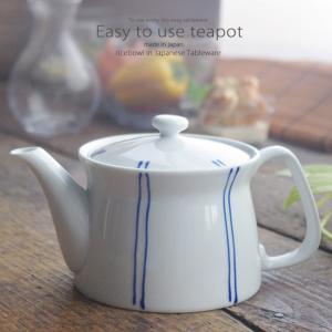 和食器 美味しい お茶 有田焼 ストライプB ステンレス 茶漉し付 ティーポット 茶器 食器 緑茶 紅茶 ハーブティー おうち うつわ 陶器 日本製|ii-otto