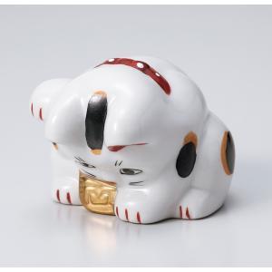 縁起物赤絵おじぎ猫小 ネコ ねこ 縁起物 置物 ギフト 厄除け 開運 雑貨 金運 招き猫|ii-otto