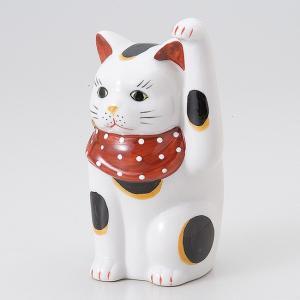 縁起物赤絵手長猫 左 ネコ ねこ 縁起物 置物 ギフト 厄除け 開運 雑貨 金運 招き猫|ii-otto