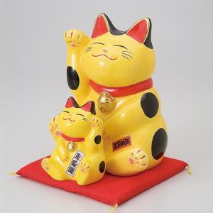 縁起物孫猫バンク黄 ネコ ねこ 縁起物 置物 ギフト 厄除け 開運 雑貨 金運 招き猫|ii-otto