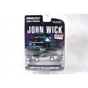 ☆NEW☆ GREENLIGHT/TOYEAST【グリーンライト/トイイースト】1/64 JOHN WICK フォード マスタング BOSS 429 '69 シルバークローム #51371|iiado-oska