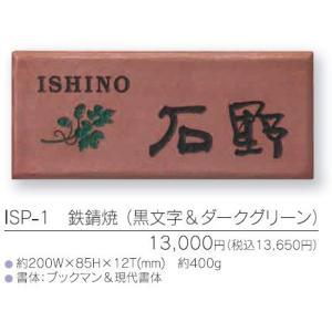 鉄錆焼表札 ISP-1 (黒文字&ダークグリーン)|iidaya