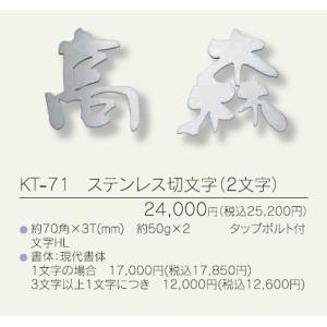 メタル(金属)表札ステンレス切り文字(2文字) KT-71|iidaya