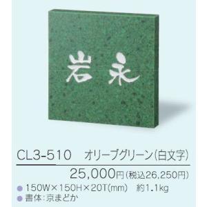 表札 クリスターロ CL3-510オリーブグリーン(白文字) iidaya