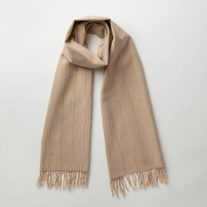 IIE Lab. Traditional stole ベージュやたら縞 会津木綿 ストール 日本製 伝統工芸|iie